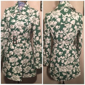 MERONA DBL BREASTED FLORAL QTR TRENCH COAT